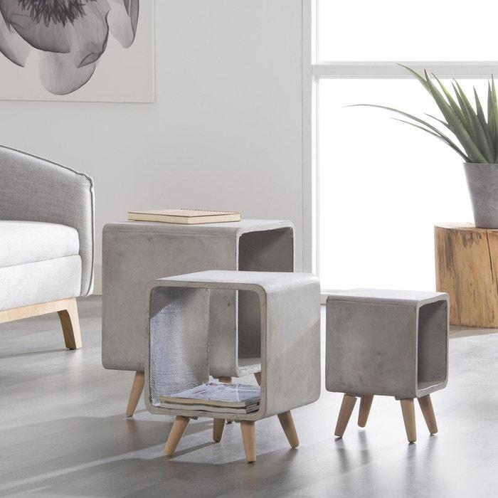 table de chevet contemporaine cube b ton mm gris clair. Black Bedroom Furniture Sets. Home Design Ideas