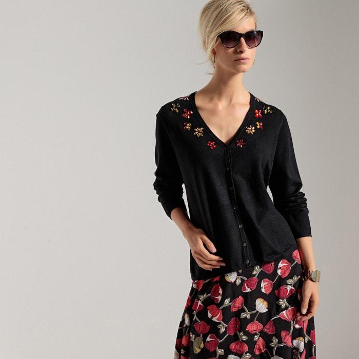 Fine Gauge Knit Cardigan with Embellished V-Neckline  ANNE WEYBURN image 0