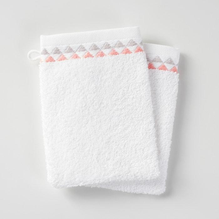 lot de 2 gants de toilette scandi liteau motif triangles en coton la redoute interieurs la. Black Bedroom Furniture Sets. Home Design Ideas