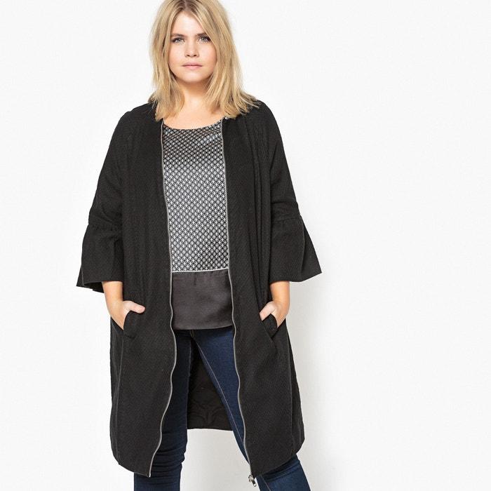 Straight Jacquard Coat with Flounced Sleeves  CASTALUNA image 0