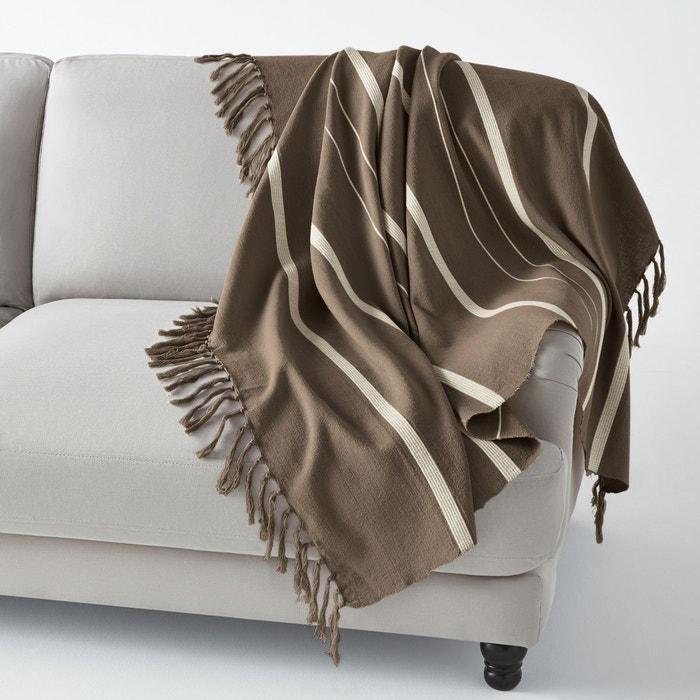 plaid frang nedo marron taupe cru la redoute interieurs. Black Bedroom Furniture Sets. Home Design Ideas