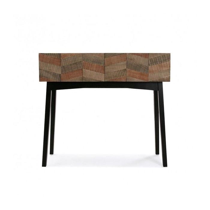 Console bois noir 2 tiroirs à motifs skagen noir Versa   La Redoute 200764a4cce9