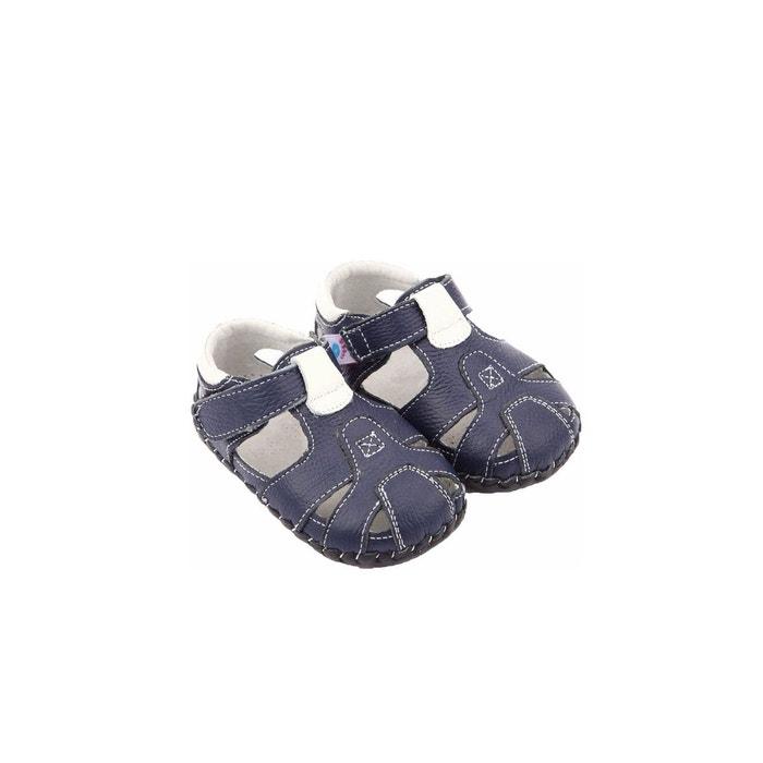 d61cd33b87457 Chaussures premiers pas cuir souple sandales navy bleu Freycoo