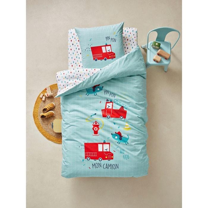 parure housse de couette taie d 39 oreiller enfant pin pon pin vert clair vertbaudet la redoute. Black Bedroom Furniture Sets. Home Design Ideas