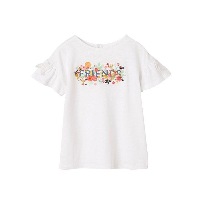 5019668d0ed22 T-shirt brodé fille manches courtes à volant blanc Vertbaudet
