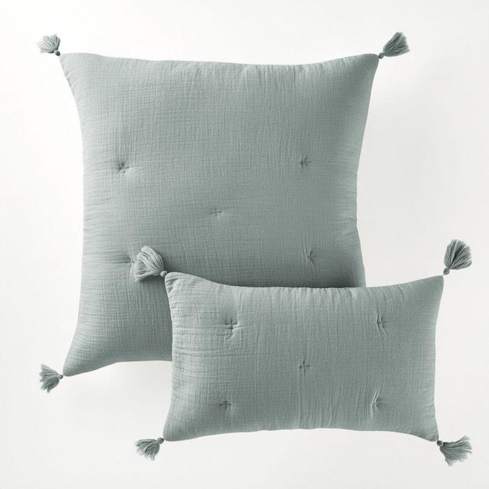 housse de coussin ou d 39 oreiller kumla vert de gris la redoute interieurs la redoute. Black Bedroom Furniture Sets. Home Design Ideas