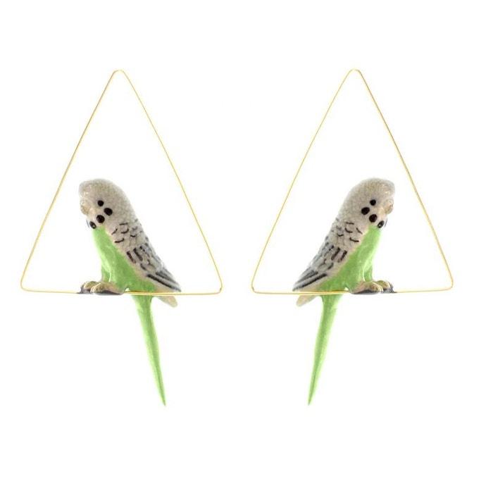Créoles triangle perruche verte en porcelaine. vert, gris, noir, doré Nach Bijoux   La Redoute