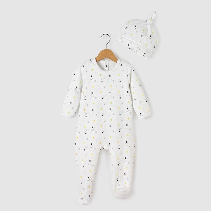 8231ee64bbf5c Pyjama velours + bonnet 0 mois-3 ans blanc imprim .