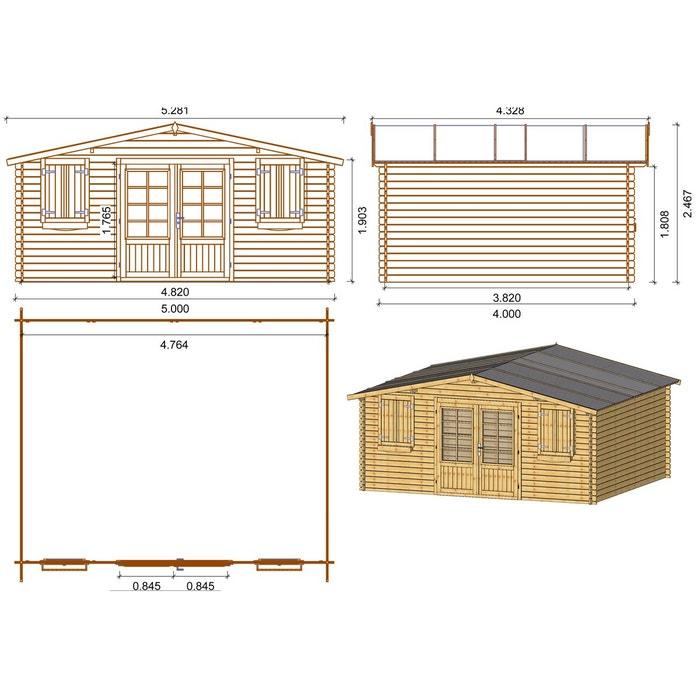 Abri jardin bois traité autoclave - 22.80 m² - 5.26 x 4.32 x 2.46 ...