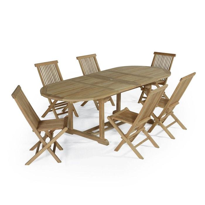 Salon de jardin en teck ecograde tanao, table extensible avec 6 ...