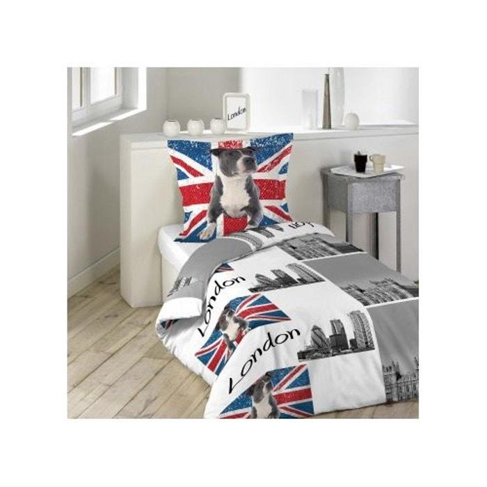 Parure de lit imprim e building dog blanc gris home maison la r - Encadrement lit 160x200 ...