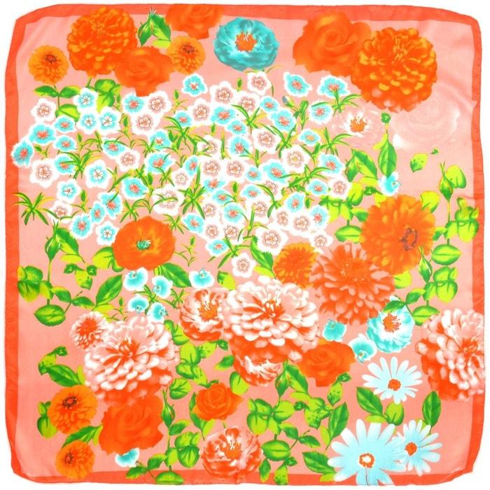 carr de soie pivoines sur rose orang rose allee du foulard la redoute. Black Bedroom Furniture Sets. Home Design Ideas