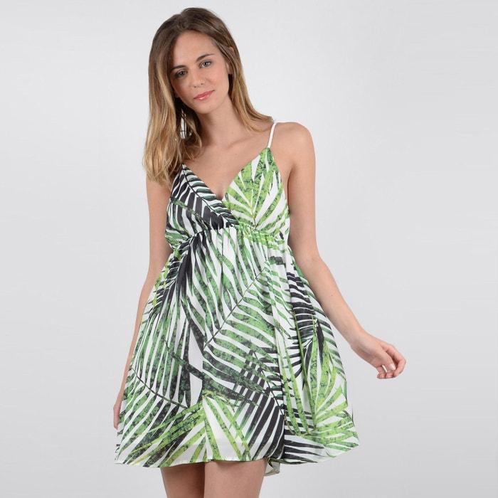 Short Palm Print Dress  MOLLY BRACKEN image 0