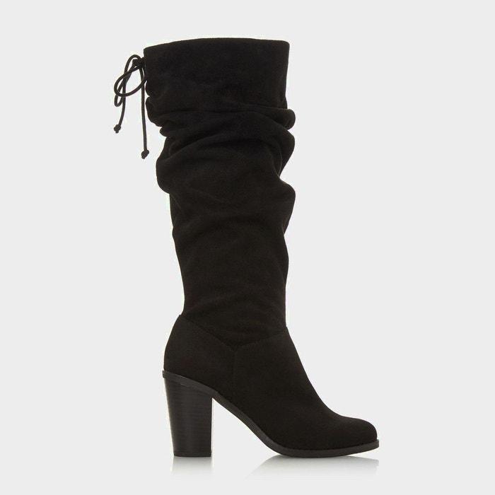 0faad565cc221 Bottes au genou froncées avec lacets - tammarra noir micro fibre Head Over  Heels By Dune   La Redoute