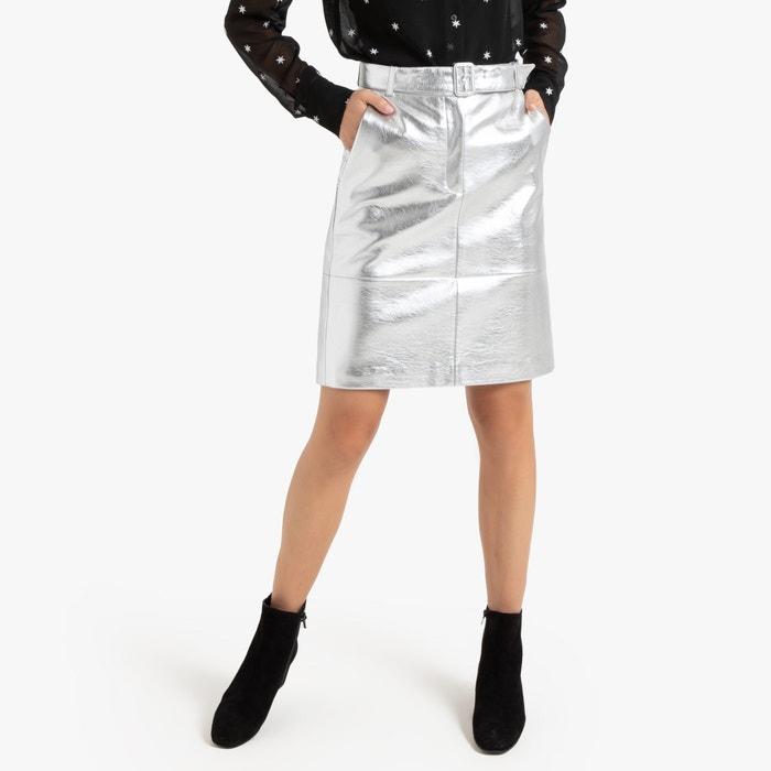 1970s skirt  silver and green metallic paisley print skirt  L