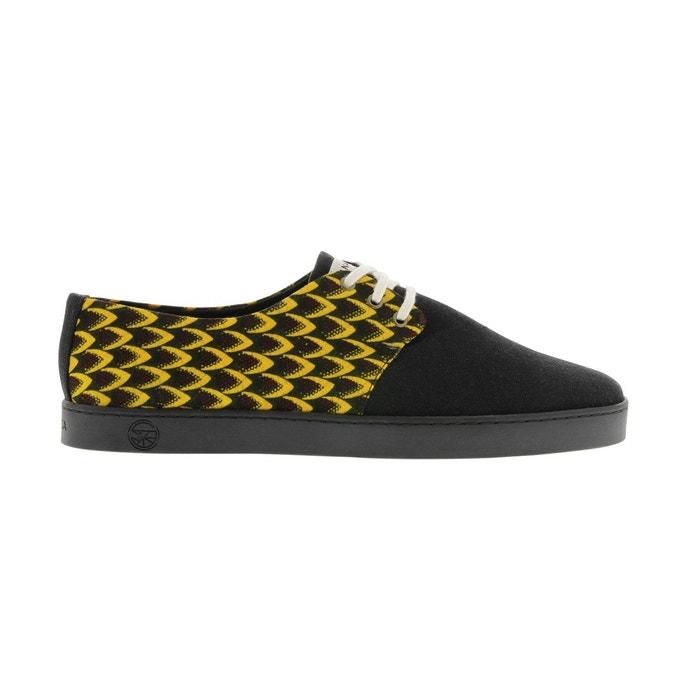 toile et noire vgan Basket coton PANAFRICA jaune en wax gBcYU4Wp