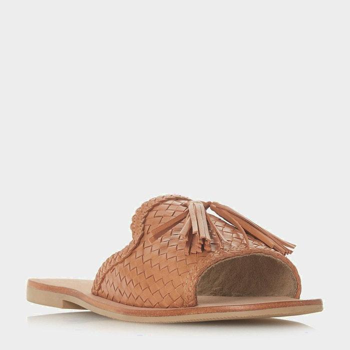 Sandales plates tressées à enfiler avec pampille - lyda  blanc cuir Dune London  La Redoute