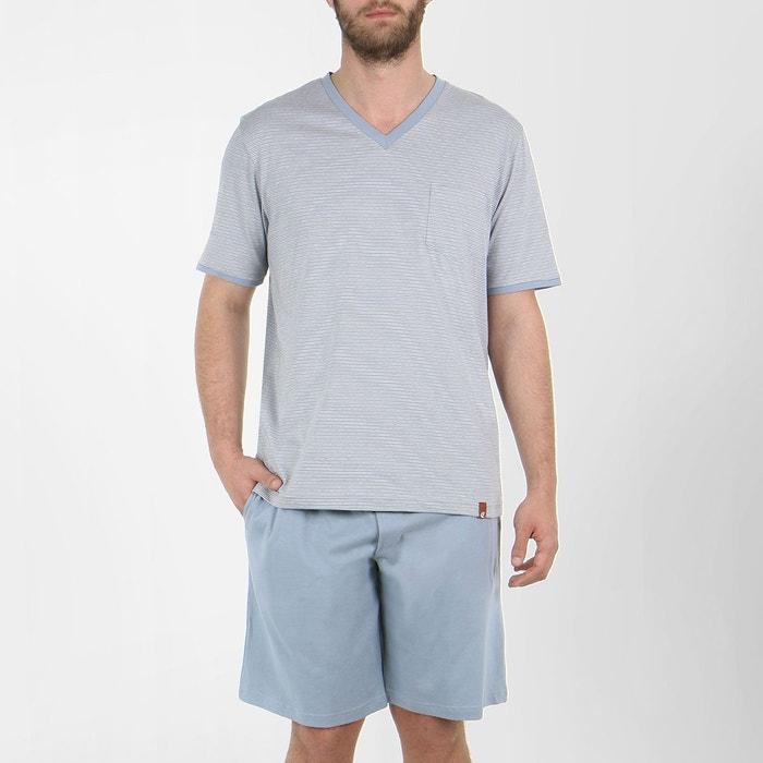 pyjama homme court voyage rayures gris eminence la redoute. Black Bedroom Furniture Sets. Home Design Ideas