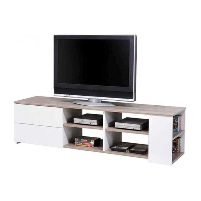 Meuble TV Chêne Griffé Blanc DECLIKDECO