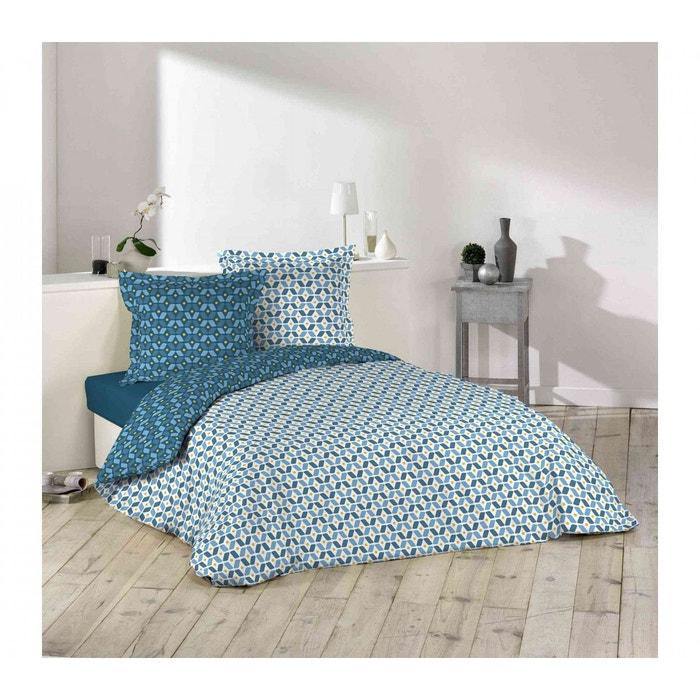parure de lit r versible esprit graphisme bleu home maison la redoute. Black Bedroom Furniture Sets. Home Design Ideas