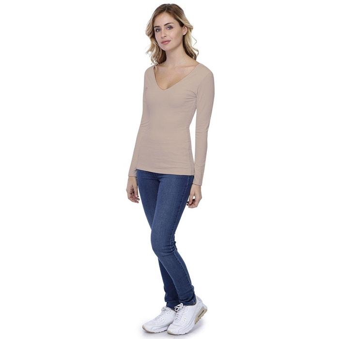 T-shirt col V devant et derrière manches longues en modal VIVI5 RENDEZ-VOUS d5cfe2d9e835