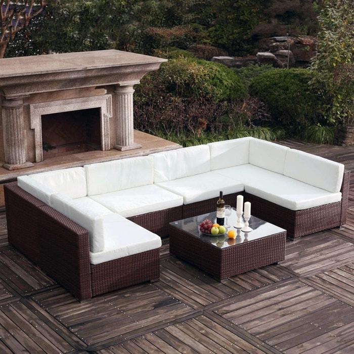 Salon de jardin résine tressée 6 places, bahru marron Concept Usine ...