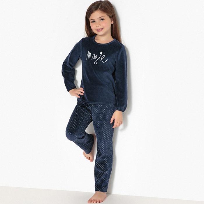 Pijama con 2 prendas de terciopelo y estampado magia, 3-12 años  La Redoute Collections image 0