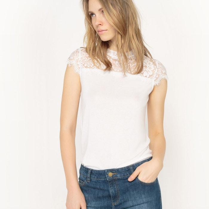 T-shirt petit col montant et empiècement dentelle
