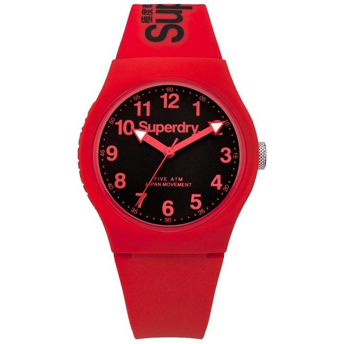 Montre unisexe analogique bracelet silicone boitier 38 mm urban rouge Superdry | La Redoute Pas Cher Finishline La Sortie Exclusive N2mxG5KS