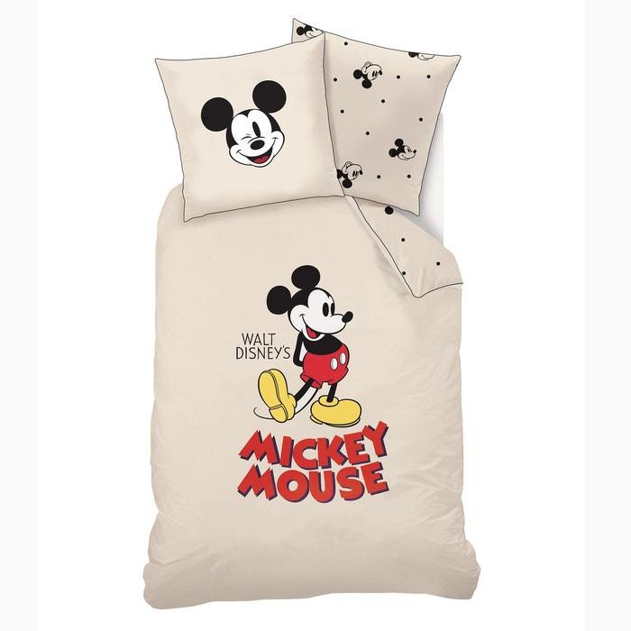 parure enfant housse de couette taie beige mickey mouse. Black Bedroom Furniture Sets. Home Design Ideas