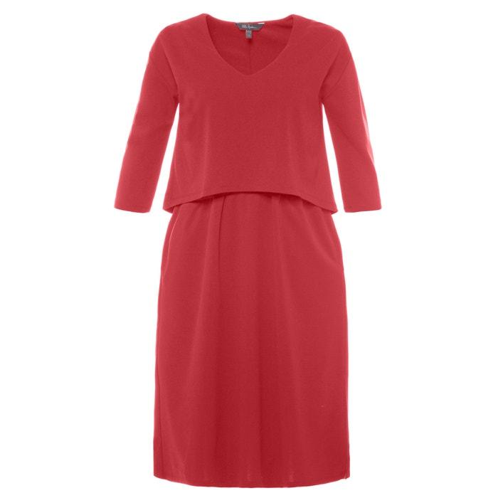 Plain Short-Sleeved Midi Shift Dress  ULLA POPKEN image 0