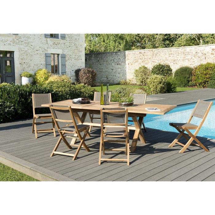 Salon de jardin teck table extensible 180/240 + 6 chaises pliantes ...