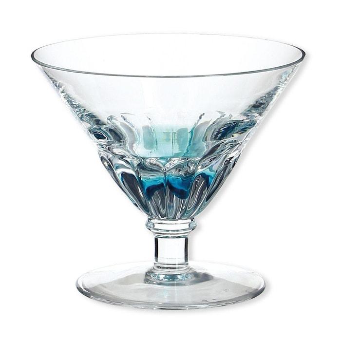coupelle glace sur pied couleur bleu 21cl lot de 6 sandy bleu turquoise transparent bruno. Black Bedroom Furniture Sets. Home Design Ideas