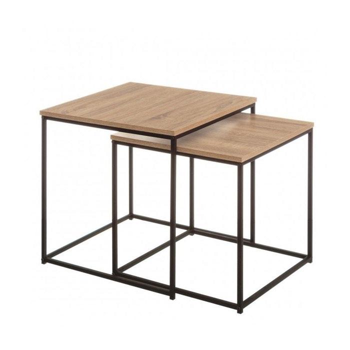 les ventes chaudes 7f930 4e9cc Set de 2 Tables Basses Gigognes Bois MDF et Métal Noir