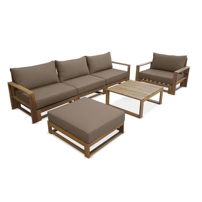 Salon de jardin en bois 5 places - Mendoza - Coussins taupe, canapé,  fauteuils et table basse en acacia