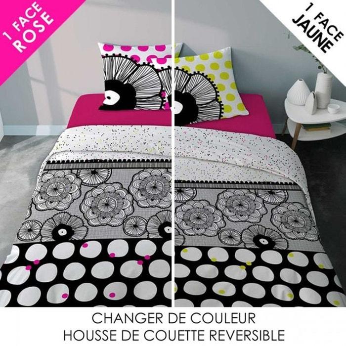 parure linge de lit noir et blanc design dentelle boudoir femme en coton dentelle imprim. Black Bedroom Furniture Sets. Home Design Ideas