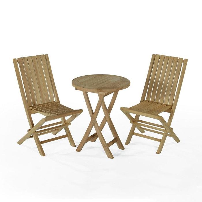 Salon de jardin en teck ecograde darjeeling, table pliante avec 2 ...