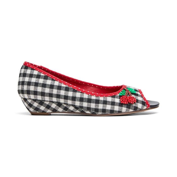 Chaussures à carreaux bout ouvert semelle légèrement compensée et cerise décorative joe browns femme  noir Joe Browns  La Redoute