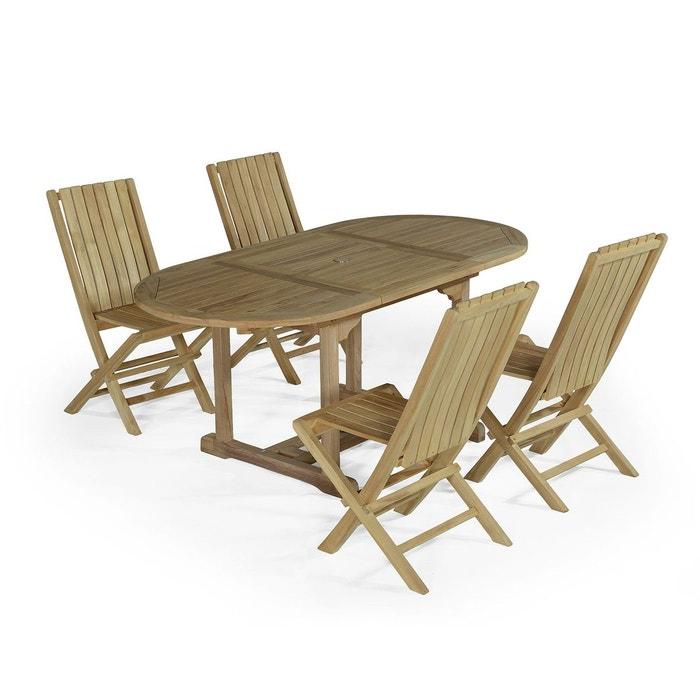 Salon de jardin en teck ecograde alizé, table avec 4 chaises karimun ...