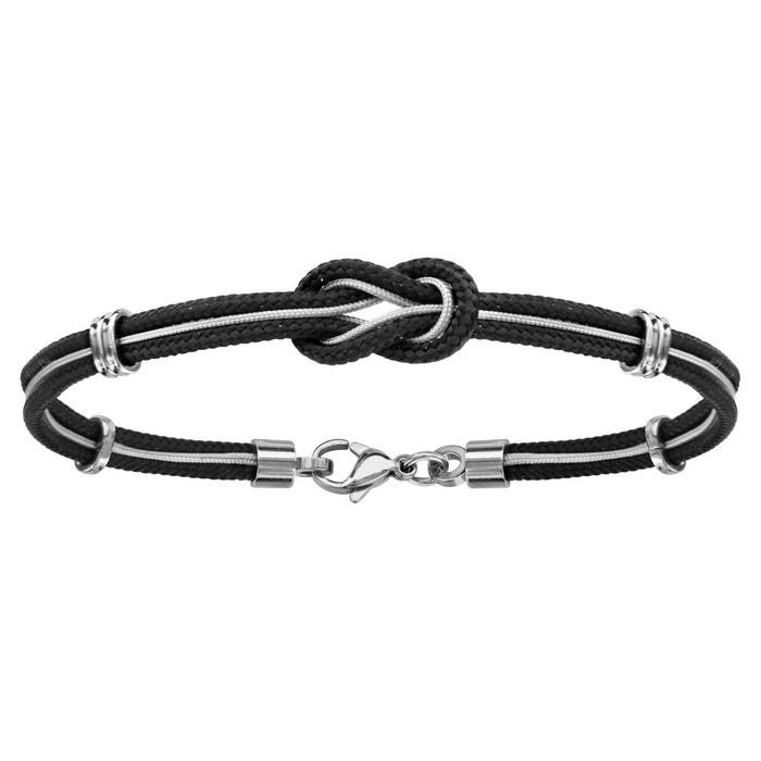 Vente Moins Cher Vente Boutique En Ligne Bracelet 19 cm cordon noir câble gris noeud marin acier inoxydable couleur unique So Chic Bijoux   La Redoute Magasin D'usine cUE2iV