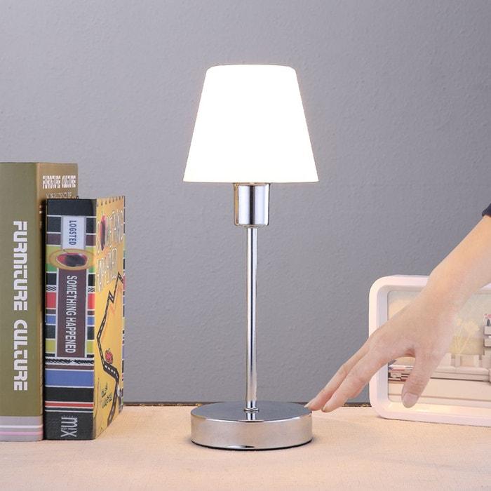 jolie lampe poser sascha avec abat jour en verre blanc chrom lampenwelt la redoute. Black Bedroom Furniture Sets. Home Design Ideas