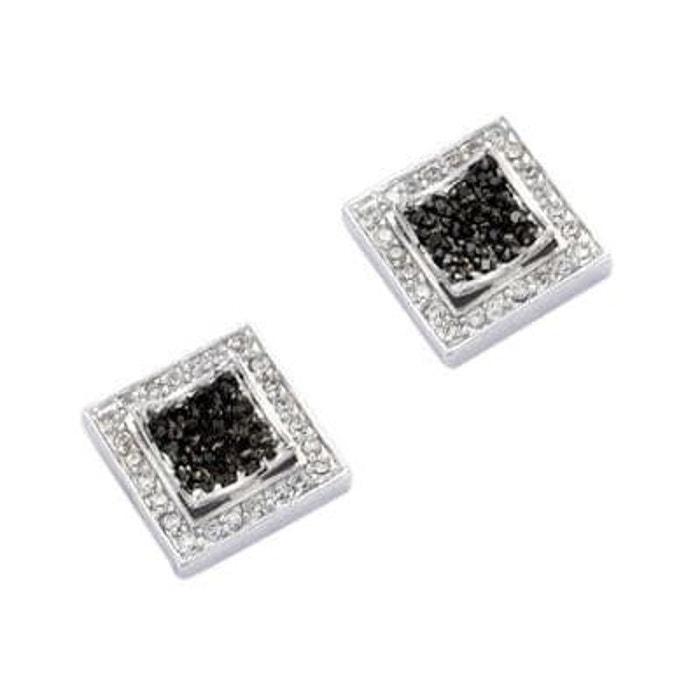 Boucles d'oreilles carré double oxyde de zirconium noir & blanc argent 925 couleur unique So Chic Bijoux | La Redoute Vente Boutique En Ligne braderie pGzrd