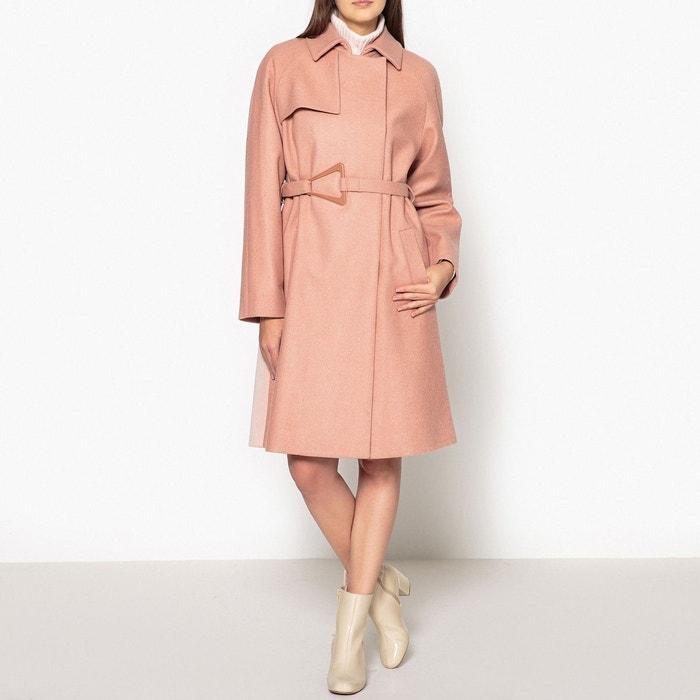 3f59c6827c Manteau long bicolore à ceinture rose Carven | La Redoute
