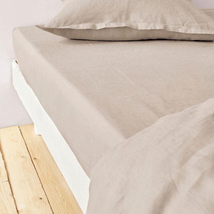 Drap housse 160x200+30 lin et coton sable