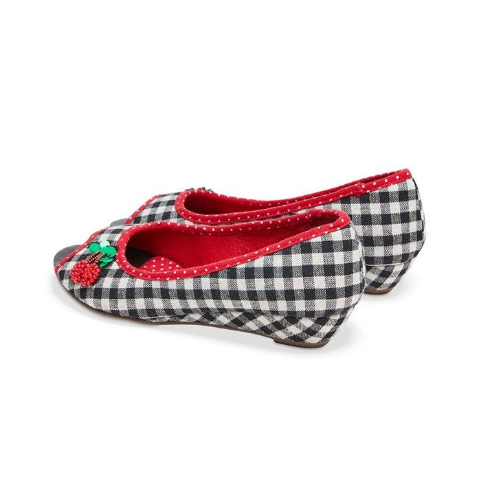 Chaussures à carreaux, bout ouvert, semelle légèrement compensée et cerise décorative joe browns femme noir Joe Browns
