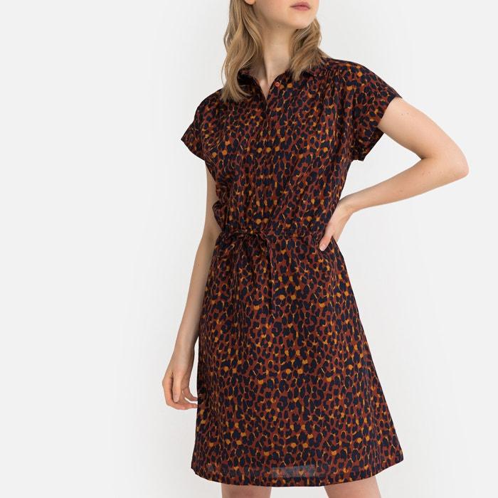 d43f95f6ef72 Cotton leopard print tie-waist shirt dress , leopard print/brown, La  Redoute Collections   La Redoute