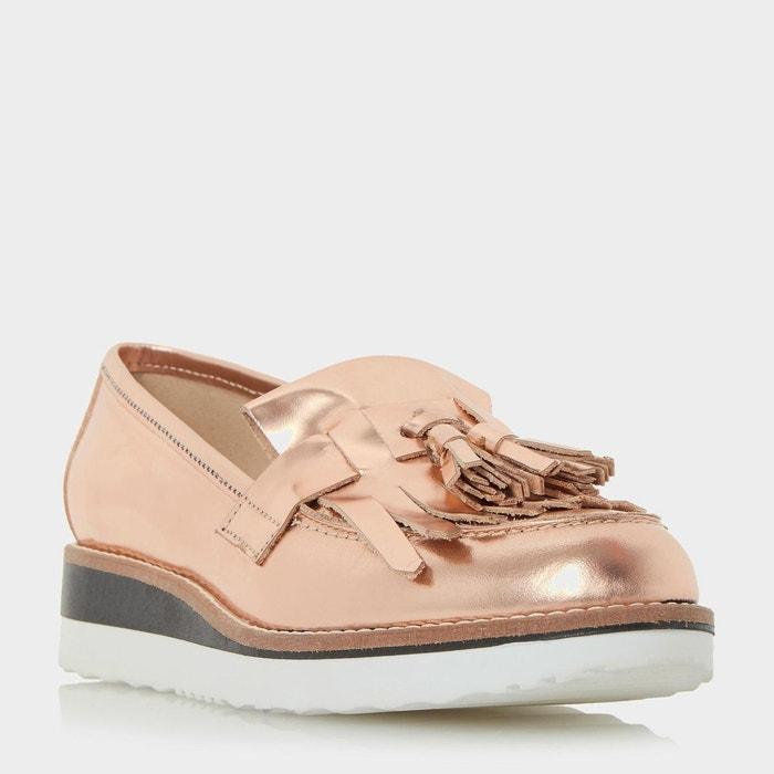 Leather flatform loafer - gallaxie or_rose cuir Dune London