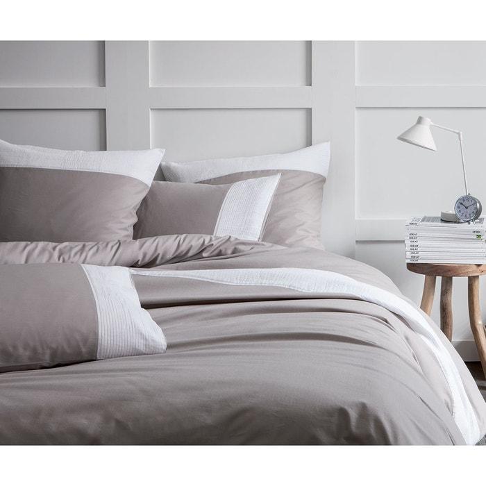 housse de couette taupe pliss blanc 100 coton taupe. Black Bedroom Furniture Sets. Home Design Ideas