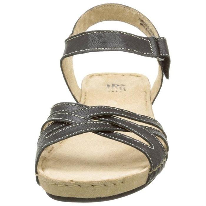 a61c3a3a686c86 Sandales / nu-pieds cuir + textile noir Tbs | La Redoute
