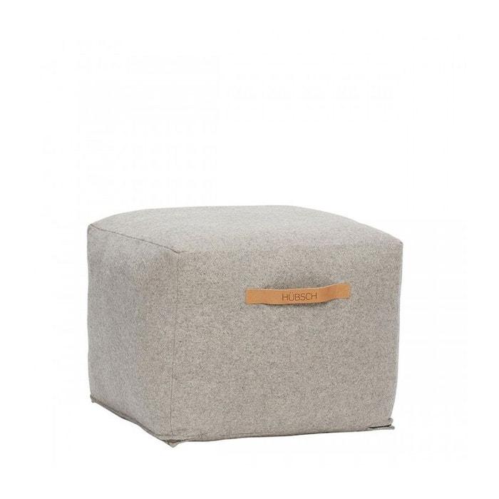 pouf design carr en laine bouillie hubsch la redoute. Black Bedroom Furniture Sets. Home Design Ideas
